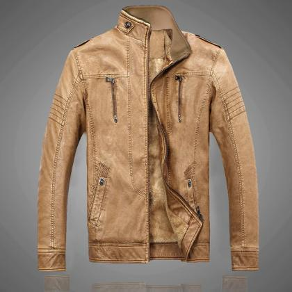 Retro Motorcycle Leather Jacket Men..