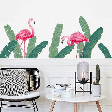 tropical wall sticker green banana leaf bird Decal nursery kids study room pink Flamingo Home decoration Vinyl creative Greenery Plants