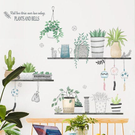 green fresh Potted plants on shelf wall Decals - nature wall stickers - Tropical Home decor for living room - creative Removable wall mural