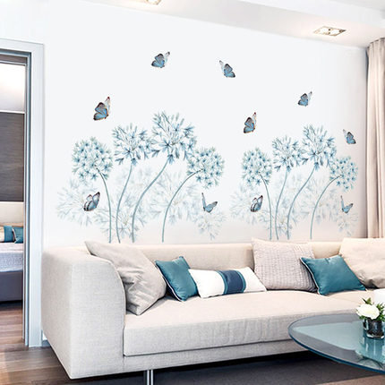 blue dandelion home decor plant Decal butterfly house wallpaper nursery Removable Vinyl Wall sticker living room girls