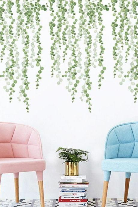 cute dropping pine green pearl leaf wall stickers - nature plants living room decal - hang leaves Home decor - peel stick Greenery botany -
