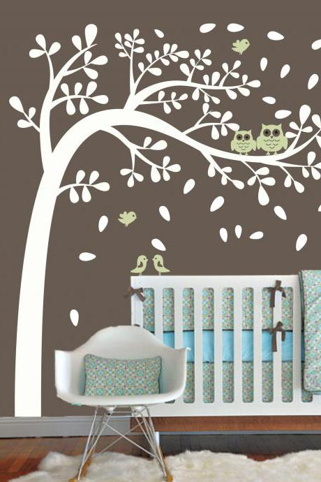 Vinyl Wall Decal wind flying leaf tree with cute bird owl mommy birds home house Art wall Decals Wall Sticker stickers baby room kid H825