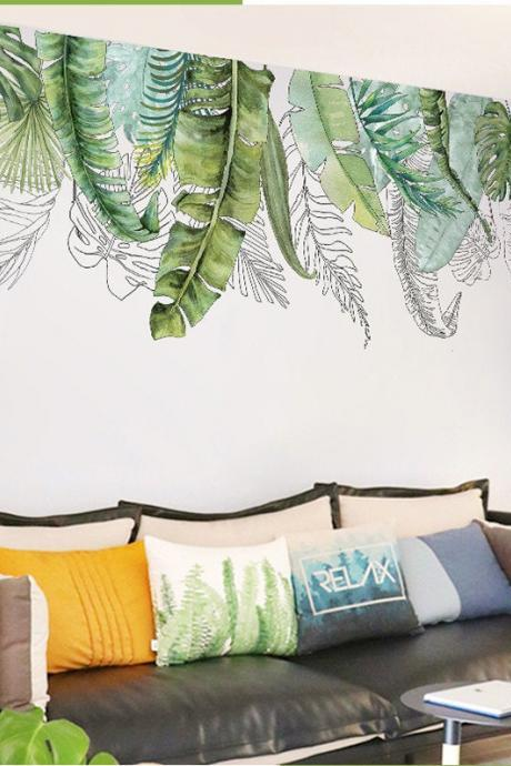 Watercolor Hand Painted Banana Leaves Wall decals, Fresh Green leaves Wall Mural, hanging from ceiling Plants Wall sticker Greenery botany