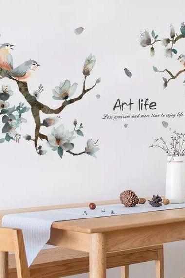 Sakura plants Decal - tropical green Decals - tree branch birds art life - Removable Vinyl Wall sticker - floral living room home decor