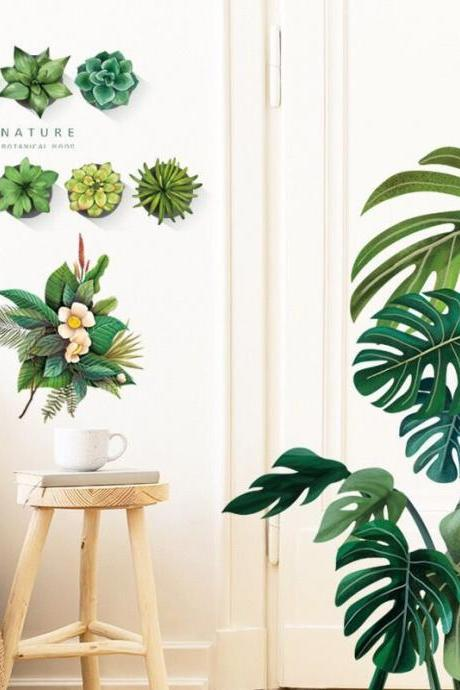 fresh green monstera deliciosa leaf wall Decal - nature Succulent plants living room wall stickers - Tropical leaves Home decor - peel stick