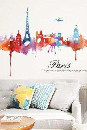 unique Paris night view living room wall sticker simple wall art prints city scenery wall decals peel and stick living room home decor