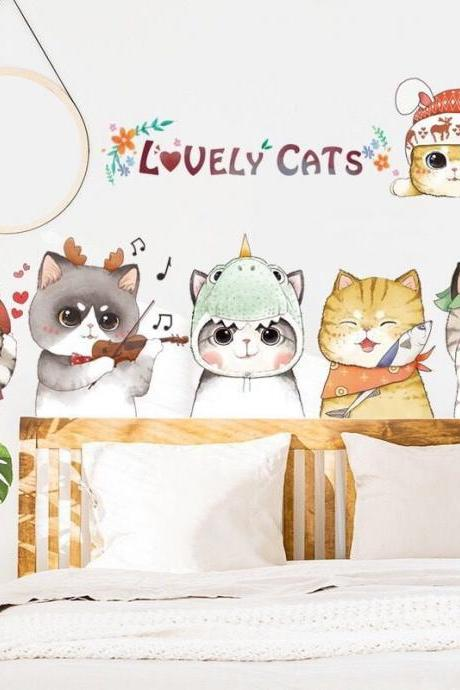 lovely cats friends wall stickers , girls bedroom home decor ,cute animal decal, peel and stick mural removable , baby kids room crib