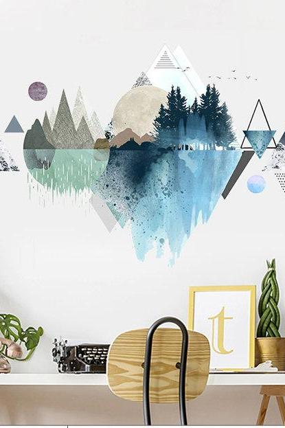 elegant mountain Decals - blue nature murals - Tropical Home decor - Removable Vinyl Wall stickers - watercolor wall art living room