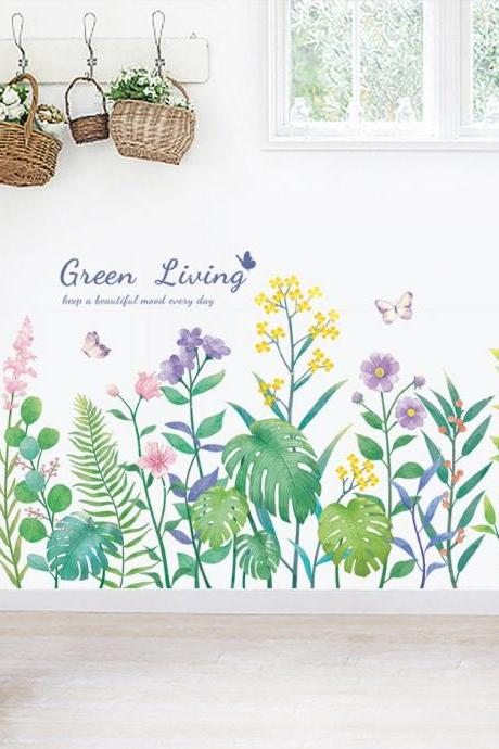 Growing lush purple flowers green leaf living room decal - nature floral home decor - plants mural - Removable girls room Wall stickers