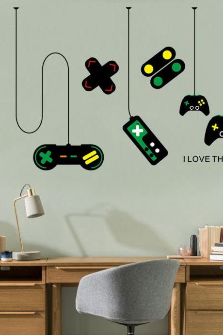 boys hanging Gamepad game room wall stickers bedroom home decor black mouse and lines wall Decals baby cot mural study room