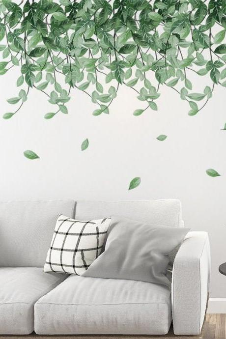 hanging flow green leaf branch wall Decal - drop plants living room wall stickers - Tropical leaves Home decor - nature botany peel stick