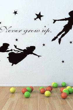 custom wall decals children wall sticker Peter pan wall murals nursery kids teen girl decor flying tinkerbell wendy stars baby room H915