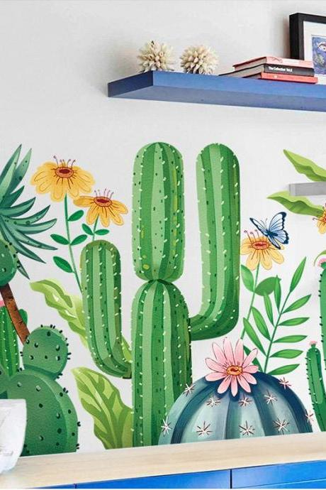 amazing green cactus with flowers and butterfly wall stickers bedroom home decor girls room house decals removable murals desk decoration