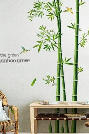 Chinese style bamboo tree with quotes wall sticker - living room home decor - leaves and bird garden Decals - greenery plants house mural