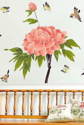 romantic peony flower with bird print wall decals Chinese Style living room stickers girls peel and stick