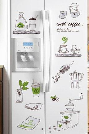 unique cute fridge stickers and kitchen wall decals - adorable bottle print decor - icebox door murals - Removable refrigerator Decorations