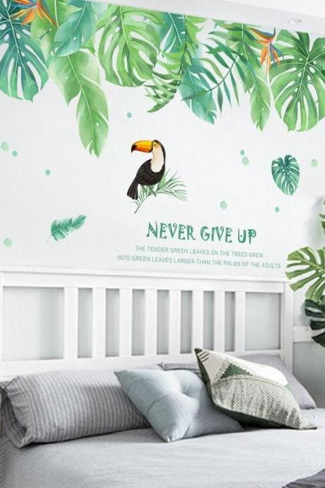 custom size large green monstera leaf Decals - tropical plants living room stickers - never give up quotes and parrot TV set home decor