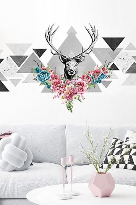 geometry Triangle with flower deer wall stickers grey and pink home decor TV set wall decal art murals living room girls room house kids