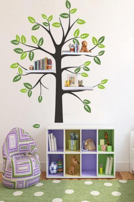 Shelf Tree Decal - Tree Decal With birds - bird Nursery Theme - Shelf Organizer Decal - Tree Bookshelf - wall decal tree silhouette H864