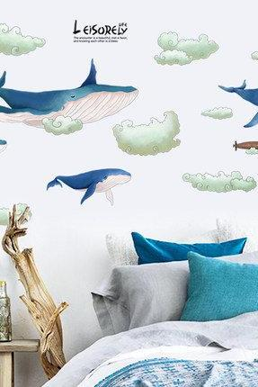 blue Whales stickers - Water flower fish Decals - baby crib mural - nursery Removable Vinyl Wall sticker - nursery wall decor - kids cot