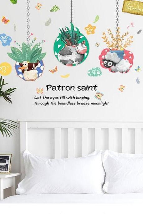 custom size cute hanging animal patron saint wall stickers - Tropical leaf Decal - nature plant bedroom Home decor - creative Greenery mural