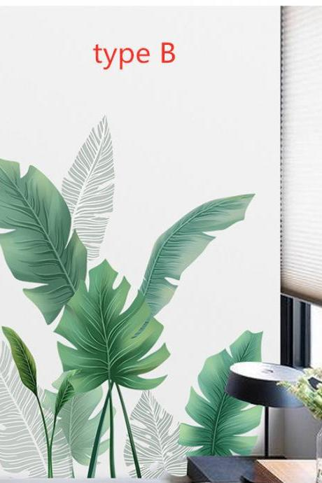 fresh green corner leaf Decal - nature plants living room wall stickers - Tropical leaves Home decor - two style Greenery botany peel stick