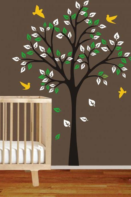 One Simple Tree Cute Birds wall decal vinyl Flying Bird Leaf Bedroom Man home Decals Wall Sticker stickers kids room bed baby kid H871