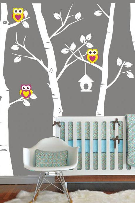 nursery Vinyl Wall Decal cute Owl family Birch Tree decals trees owls bird birds home house Art Wall stickers baby room kid H827