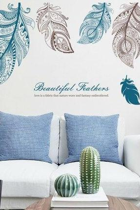 large beautiful feathers wall Decals - blue brown Tropical Home decor - Removable Vinyl Wall stickers - creative words living room murals