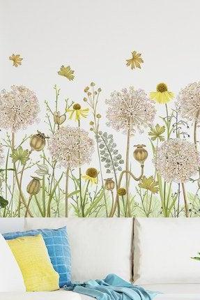 romatic growing yellow Dandelion flower Decal - nature plants living room wall stickers - charm floral botany Home decor