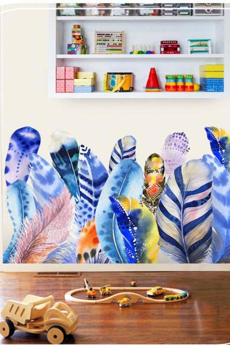 unique blue colorful feathers wall stickers girls room decals traditional wall murals house art living room bedroom home decor