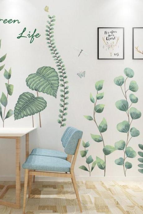 unique growing plants wall sticker - green garden botany home decor - greenery peel and stick wall Decals - Tropical Removable house mural