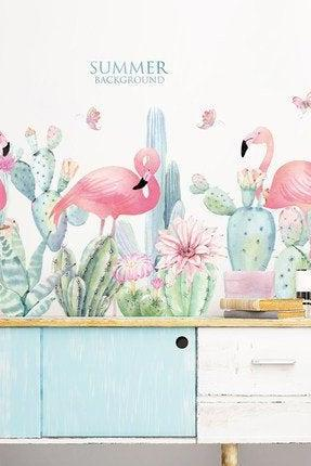 pink girls room decals Decal nature cactus famingo bird with quotes wall stickers - summer Tropical Home decor - creative Greenery Plants