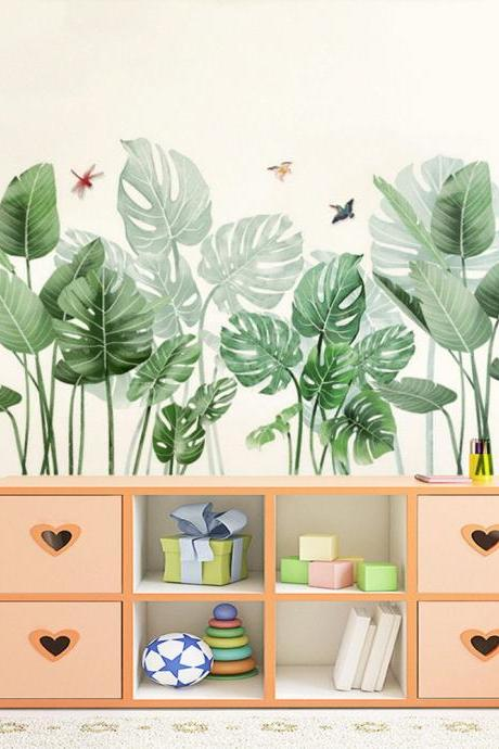 tropical green Monstera leaves wall sticker ,dragonfly birds natural botany vinyl Wall decals, living room decor , peel and stick headboard