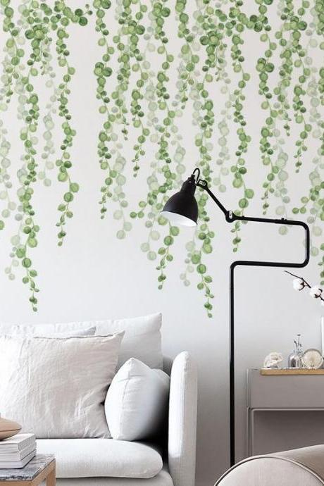 hanging tender leaf vine branch green wall decal, String of Pearls Wall Stickers, dropping round leaves living room wall decor,peel stick