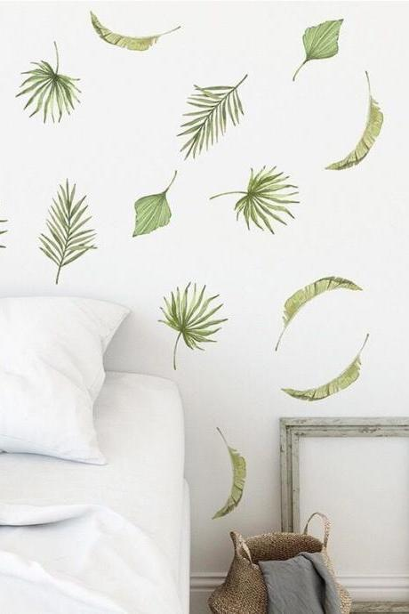 tropical fresh green falling leaves wall sticker Separate blade leaf wall decal, natural Wall mural, living room decor , peel and stick E114