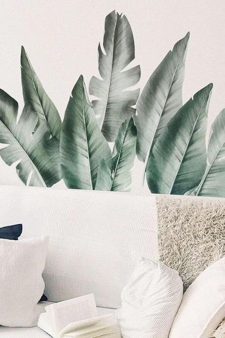 tropical Greyish green leaves wall sticker, A pile of blades sofa background wall decal, natural living room decor , peel and stick E115