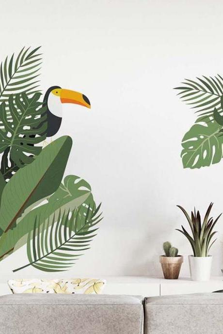tropical green Monstera leaf Woodpecker wall sticker, greenery lover planting wall decal, natural corner wall living room decor , peel stick