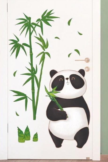 big panda holds bamboo wall sticker green bamboo tree planting wall decal, living room decor,peel and stick nature mural E096