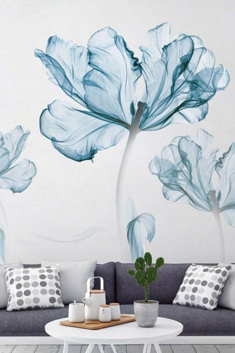 three big blue flowers wall sticker ,sofa background large floral wall decal , living room wall decor , peel and stick -girls room