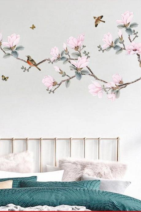 pink Peach blossom tree with birds wall sticker chinese style flowers wall decal, natural botany living room wall decor , peel stick