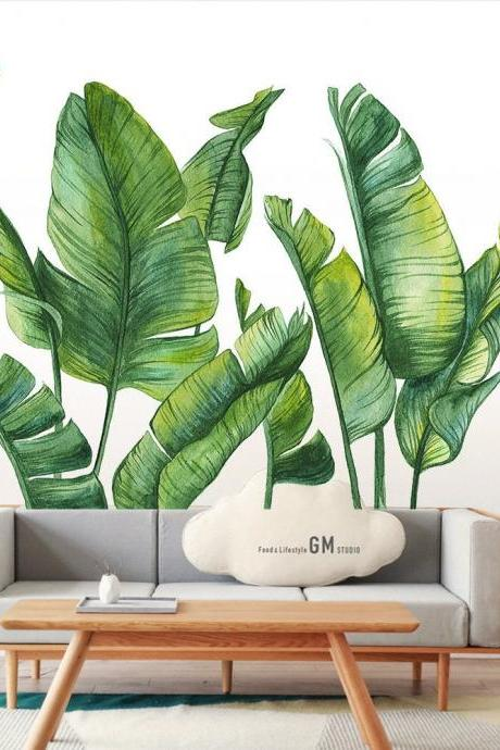 big fresh green banana leaves wall sticker, natural plants Wall Stickers, living room wall decor ,creative large leaf murals , peel stick