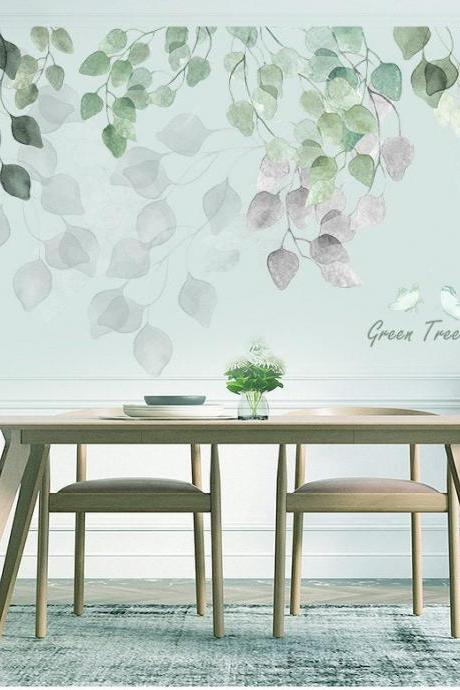 large green and grey leaf wall stickers, quotes and plants Wall decal, greenery lover hanging leaves wall mural, living room home decor