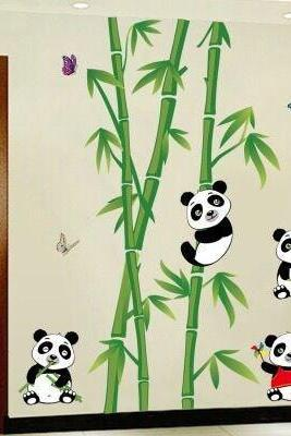 green bamboo tree and cut pandas wall sticker green leaves planting wall decal, shelves kids room decor,peel and stick nature mural E091