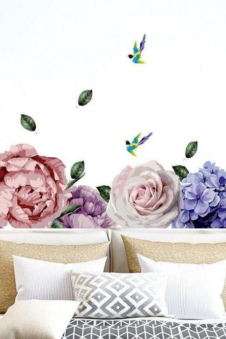 pink purple peony flower wall decal ,romantic floral sofa background wall stickers,girls room bed headboard decor,peel and stick E087