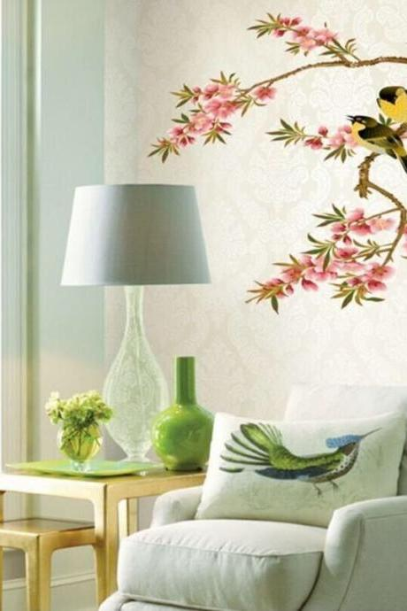 pink Peach blossom tree & Oriole bird wall sticker ,romantic flower girls room decal,floral sofa background living room decor E086