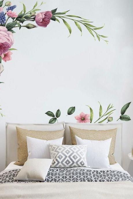 From the corner of the ceiling pink peony flower wall sticker ,romantic floral decal,leaves plants bed headboard decor,peel and stick E084