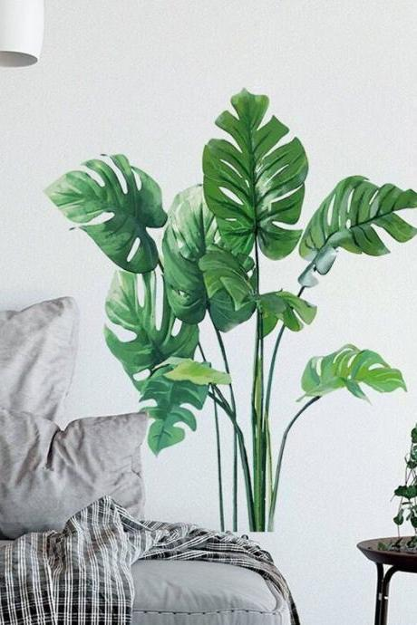 tropical Monstera leaf plants wall sticker, fresh green planting wall decal, dinning room accent decor , peel and stick E083