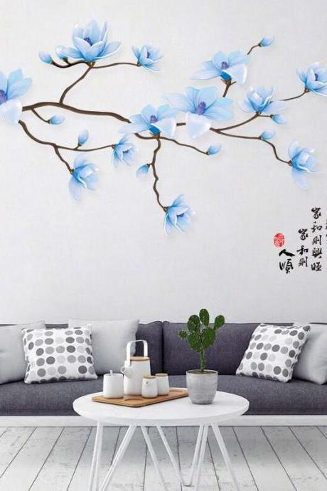 elegant 3d blue flower branch & bird wall sticker ,romantic girls room decal,floral sofa background decal, living room decor chinese style