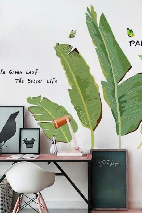 tropical palm tree leaf wall sticker fresh green planting wall decal, natural botany Wall mural, living room wall decor , peel and stick